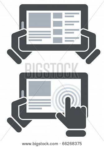 Hands holding tablet computer and open website