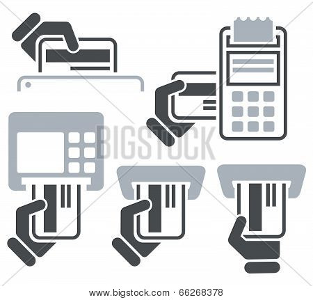 ATM POS-Terminal and hand credit card icons
