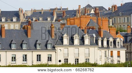 view of the old city of Blois, Loire Valley, France.