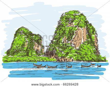 Thailand beach landscape, Limestone rocks, Long tail boats, Hand drawn illustration