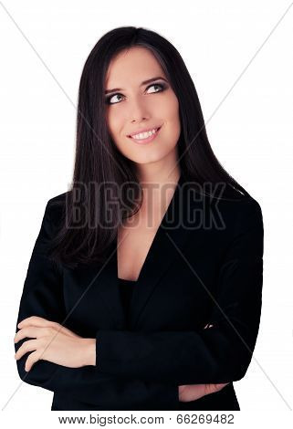 Young Business Woman in Black Suit