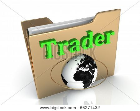 Trader Bright Green Letters On A Golden Folder