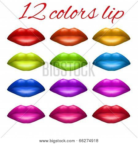 Shades of Beautiful luscious multicolor lips.