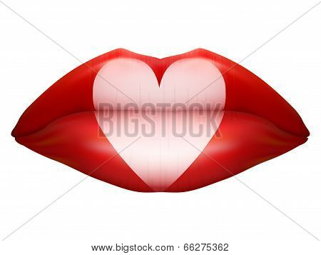 Beautiful luscious lips. Casino symbol.
