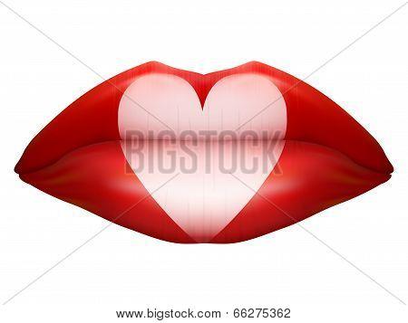 Beautiful luscious lips. Casino symbol.