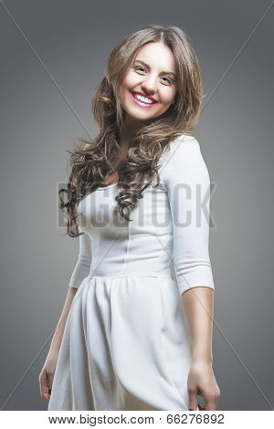 Portrait Of Expressive Laughing Caucasian Brunette Woman