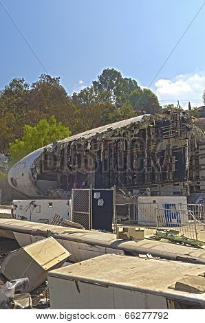 Hollywood- Usa, October, 2: Artificial Immitation Of The Airplane Crash Created At  Universal Studio