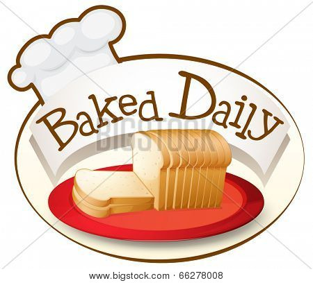 Illustration of a plate of bread with a baked daily label on a white background