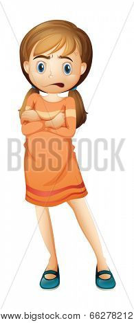 Illustration of a young girl frowning on a white background