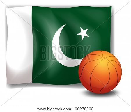 Illustration of the flag of Pakistan at the back of a ball on a white background