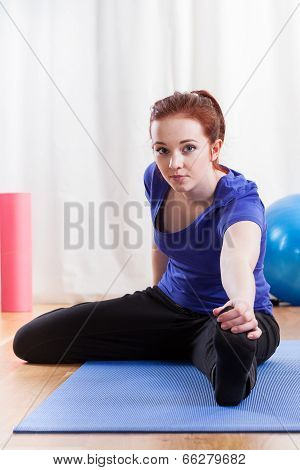 Girl Doing The Hamstring Stretch
