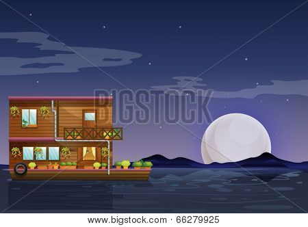 Illustration of a boathouse floating in the middle of the night