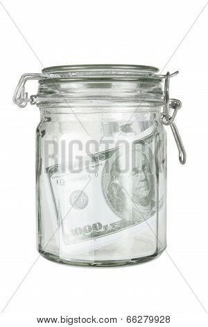 Glass Jar With Dollar Note