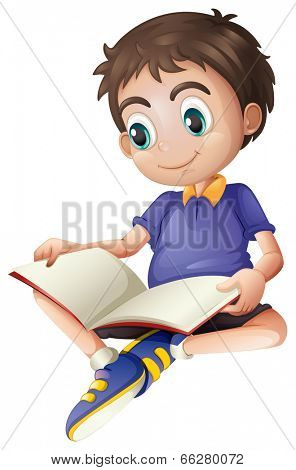 Illustration of a young man reading on a white background