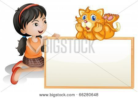 Illustration of a young girl holding the empty signboard with a cat on a white background