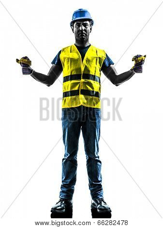 one construction worker signaling with safety vest extend boom silhouette isolated in white background