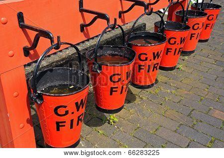 Victorian fire buckets, Hampton Loade.