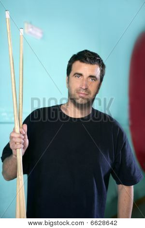 Billiard Player Man Holding Pool Sticks