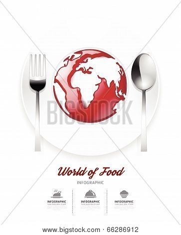 Infographic World Of Food Design Template. Tomato Sauce On World Shape Concept.vector Illustration