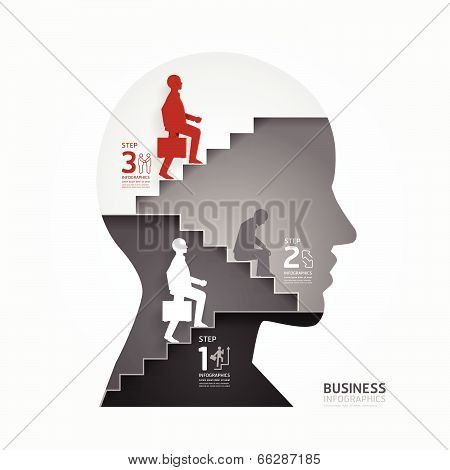Businessman Up The Ladder Paper Cut Style Template  / Can Be Used For Infographics Graphic Or Websit