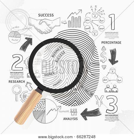 Business Fingerprint Doodles Line Drawing Success Strategy Plan Idea With Magnifier.vector Illustrat