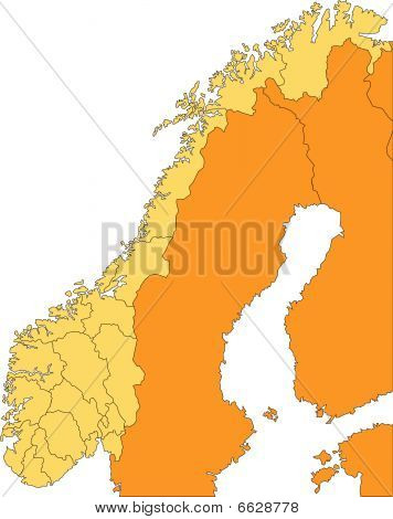 Norway with Administrative Districts and Surrounding Countries