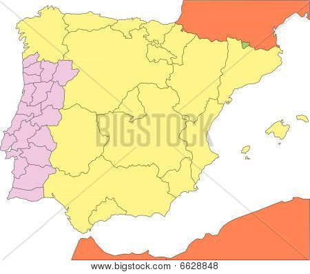 Spain and Portugal with Regions and Surrounding Countries