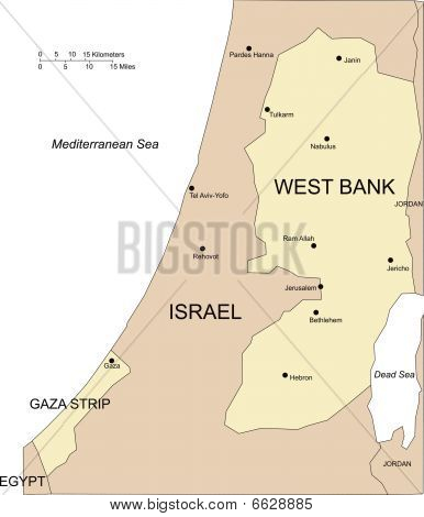 West Bank and Gaza, Major Cities and Surrounding Countries