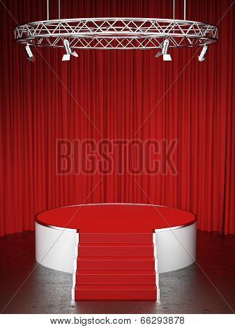 Red scene and red curtains