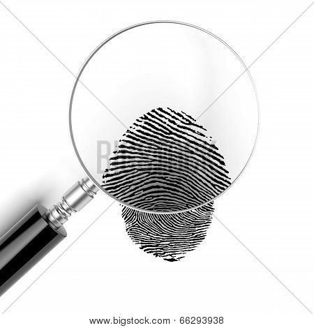 Magnifying glass  with finger print