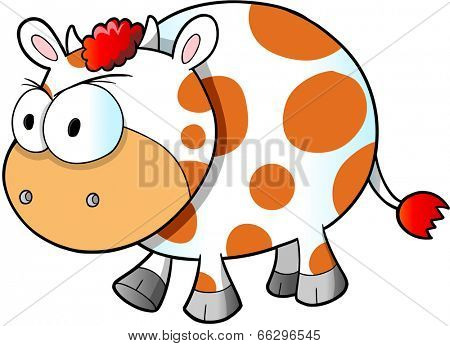 Mad Angry Cow Vector Illustration Art