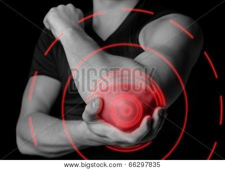 Pain In The Elbow Joint, Pain Area Of Red Color