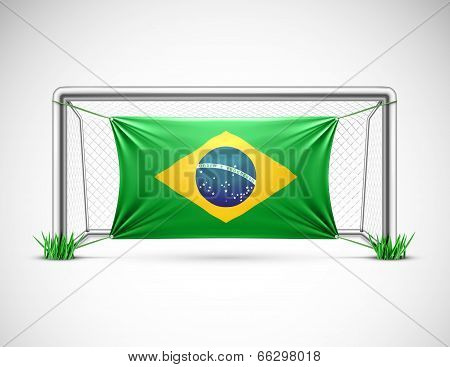 Soccer Goal With Flag of Brazil