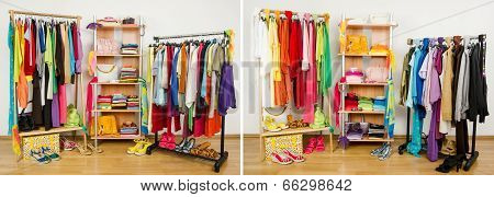 Wardrobe before nicely arranged randomly and after arranged by colors.