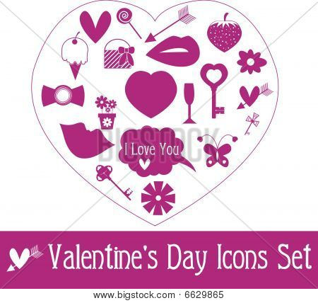 Valentine's Day Icon Set. Vector Illustration