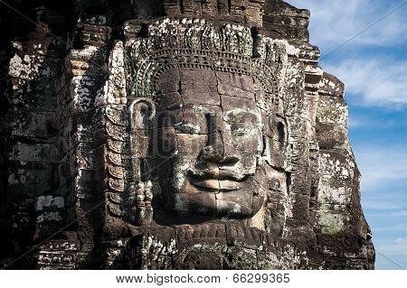 Buddha faces of Bayon temple at Angkor Wat complex Siem Reap Cambodia