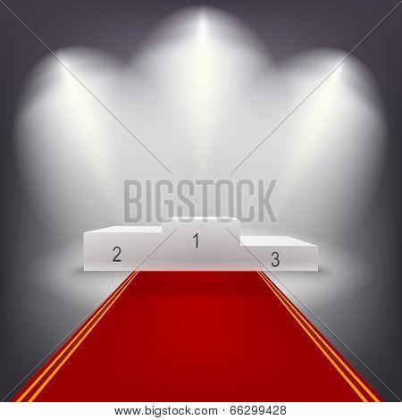 Illuminated business winners podium with red carpet..
