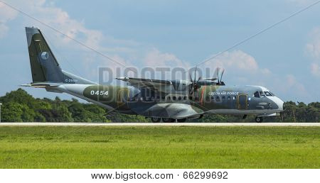 BERLIN, GERMANY - MAY 20, 2014: Twin-Turboprop Transport Aircraft C-295M (Czech Air Force), demonstration during the International Aerospace Exhibition ILA Berlin Air Show-2014.