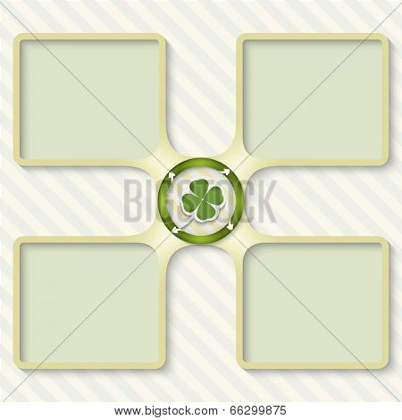 Four Boxes For Entering Text With Arrows And Cloverleaf