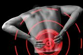 pic of male body anatomy  - Acute pain in a male lower back monochrome image pain area of red color - JPG