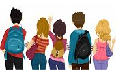 stock photo of knapsack  - Back View Illustration of College Students on Their Way to School - JPG