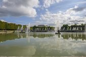 stock photo of versaille  - View of Versailles Chateau gardens and famous fountains near Paris France - JPG