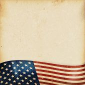picture of bottom  - Vintage style grunge background with USA flag at the bottom - JPG