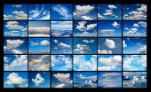 image of cumulus-clouds  - Collage of many images of blue sky with clouds - JPG