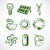 stock photo of atom  - Eco green energy sketch icons set of leaf lightbulb sun panel and atom isolated vector illustration - JPG