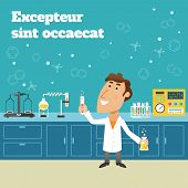 foto of scientist  - Scientist in science education research lab with flasks and laboratory equipment poster vector illustration - JPG