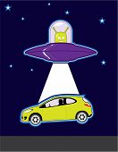 stock photo of unexplained  - alien spaceship car obduction illustration vector art - JPG