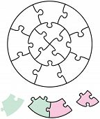 foto of brain teaser  - Jigsaw puzzle in the form of two circles with single pieces which can be individually removed and arranged - JPG