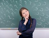 picture of pre-adolescent child  - Portrait of child school education against the background of blackboard - JPG