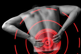 pic of red back  - Acute pain in a male lower back monochrome image pain area of red color - JPG